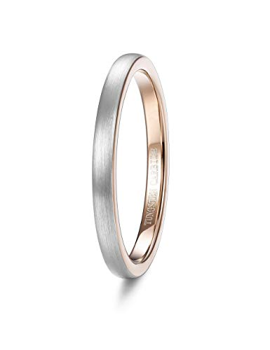 Tungary 2mm Tungsten Wedding Ring for Women Rose Gold Plated Domed Brushed Wedding Band Engagement Ring Size 4-12