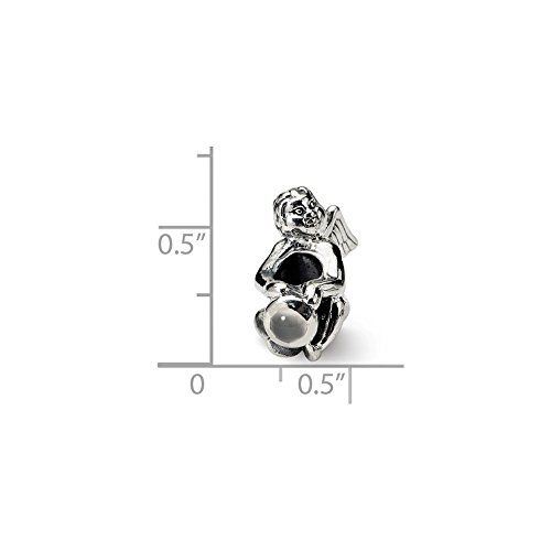 - Solid .925 Sterling Silver Reflections June CZ Antiqued Bead 16.36 mm