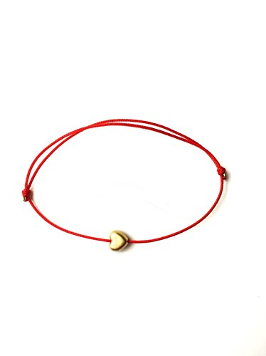 Naz Collection Gold Plated Shiny 6mm Heart Charm Red String Love Bracelet