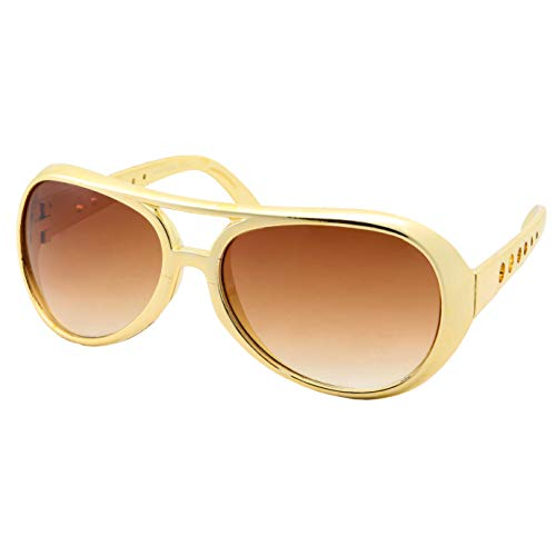 50's 60's Rock Star Sunglasses - Elvis Style Aviator Glasses - Mens Costume (Gold Frame, Gradient Lens) -