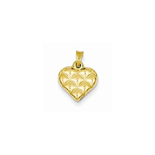 (14k Quilted Puffed Heart Charm, Best Quality Free Gift Box)