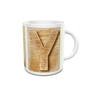 White Ceramic Mug with Wooden Colored Alphabet Y Design 389