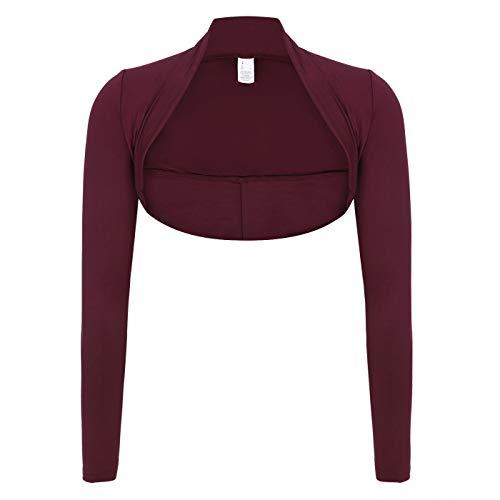 HDE Women's Bolero Long Sleeve Cardigan Shrug (Burgundy, Small)
