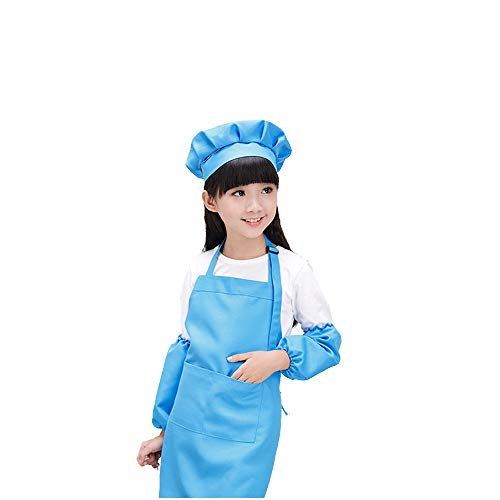Dadidyc Kid Aprons for Painting,Childrens Apron Cooking Aprons for Kid Apron for Art, Adjustable Apron with Pockets, Smocks for Kids with Cap and Oversleeves -SkyBlue