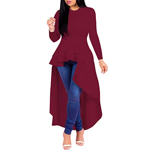 Shisay Women's Short Sleeve Strap Melaleuca Ruffles Design Irregular Long Dress Plus Size Evening Party Dress Wine