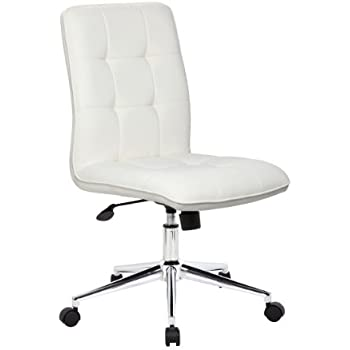 Boss Office Products B330 WT Mellennial Modern Home Office Chair Without  Arms In White