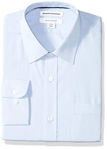 (Amazon Essentials Men's Regular-Fit Wrinkle-Resistant Long-Sleeve Solid Dress Shirt, Light Blue, 17.5