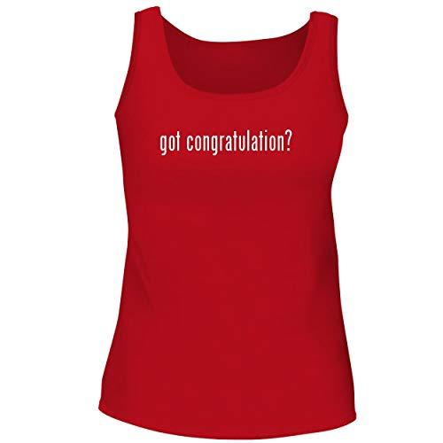 BH Cool Designs got Congratulation? - Cute Women's Graphic Tank Top, Red, (Flower Congratulations Basket)