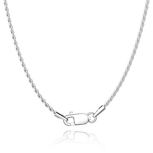 Jewlpire Diamond Cut 925 Sterling Silver Chain Rope Chain Italian Silver Necklace Chain for Women Men Super Shiny Durable 1.35mm Size 16,18, 20 Inches