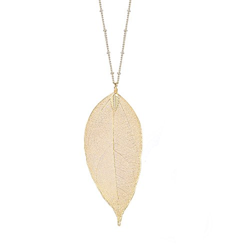 (BOUTIQUELOVIN Women's Long Leaf Pendant Necklaces Real Filigree Autumn Leaf Fashion Jewelry Gifts (14k Gold))
