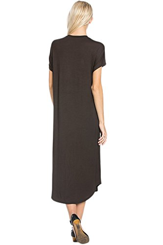Summer Long Hem Brown Made Womens Maxi USA Dark 82 Short Sleeve Casual Curved Dress in Days XH0qSn8