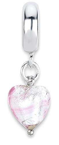 ICE CARATS 925 Sterling Silver Charm For Bracelet Pink Heart Italian Murano Dangle Bead Love Glas Fine Jewelry Gift Set For Women - Glases Cute