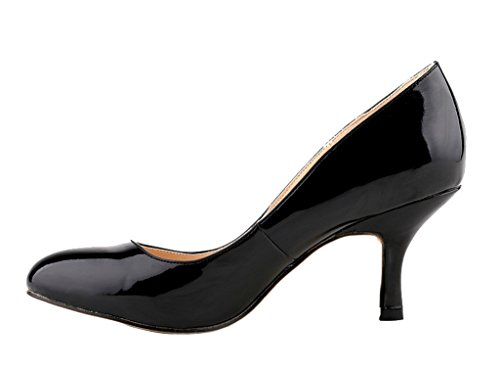 Women's Classic Stiletto Pointy Toe High Heel Pumps Shoes For Sexy Evening Party Dress 01#black patent pu C3ZkSOia