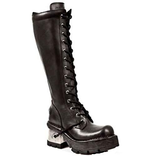 Talon Cuir forme Métal Noir Dentelle New Rock Plate Botte s1 Bottes 236 En Dames Ww1wZB4pq