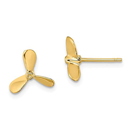 14k Yellow Gold 2 D Propeller Post Stud Earrings Outdoor Nature Fine Jewelry Gifts For Women For Her