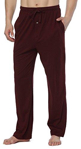 RENZER Men's Pajamas Pants 100% Knit Cotton Sleep Long Lounge Pants-Red XXXL