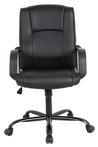 Smugdesk Leather Office Chair, Ergonomic Desk Computer Chair Swivel Home Chair- Black
