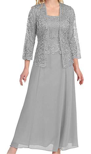 Mutter mit Bolero Braut Frauen der schnüren Jacke Silber HWAN Formale Kleider Kleid Lange zBE14H