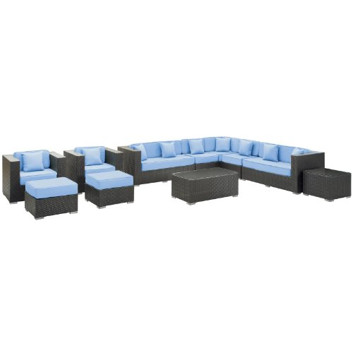 Modway Furniture EEI-723-EXP-LBU-SET Cohesion 11 Piece Sectional Set in Espresso Light Blue CohesionCollection