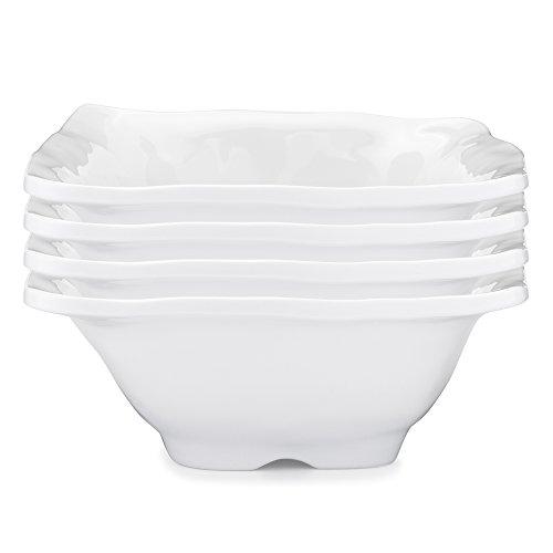 Q Squared Ruffle in Square BPA-Free Melamine Square Dip Bowl, 5-Inches, Set of 4, White