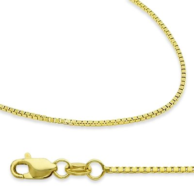 14k New Solid Yellow Gold Box Chain Necklace 1.3mm 16