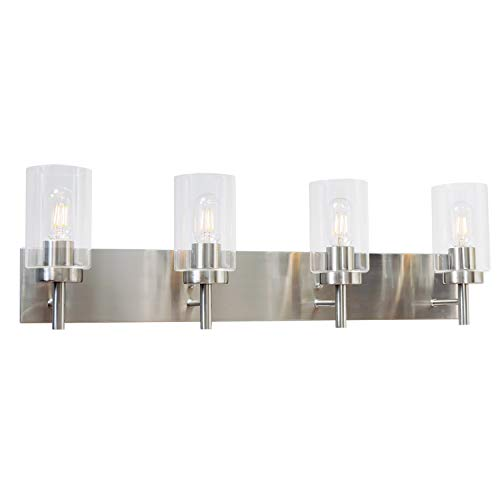 VINLUZ 4 Lights Bathroom Vanity Light Fixture Brushed Nickel Sconces Wall Lighting -