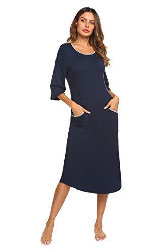 Ekouaer Cotton Knit Three Quarters Sleeve Nightgown Women, Contrast Color Midi Length Sleep Dress (Navy Blue XL)
