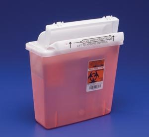 Sharpstar Lid - COVIDIEN/MEDICAL SUPPLIES SHARPSTAR IN-ROOM SYSTEM WITH SHARPSTAR LIDS IN-ROOM Sharps Container, 5 Qt, Transparent Red, SHARPSTAR Lid & Counter-Balanced Door, 12½