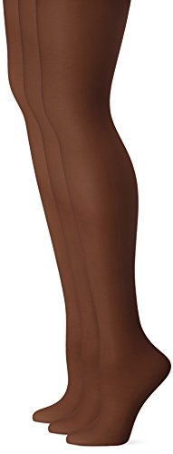 L'eggs Women's Energy 3 Pack Control Top Sheer Toe Panty Hose, Off Black, Q