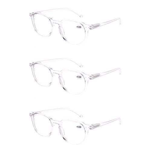 (READING GLASSES 3 Pair Retro Round Spring Hinged Readers Great Value Quality Glasses for Reading (3 Pack Transparent, 3.00) )