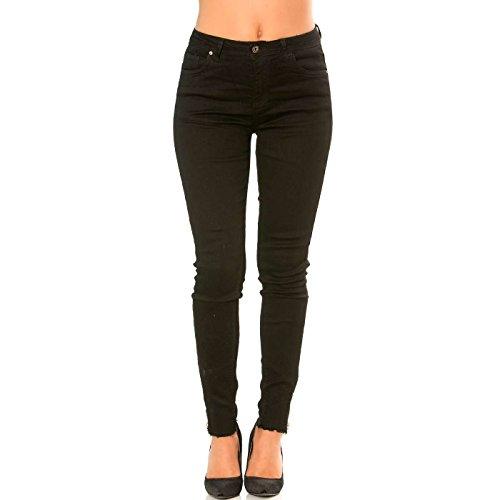 Jeans Chevilles Fermeture Line Miss Slim Wear aux avec Noir Pantalon SRwtq