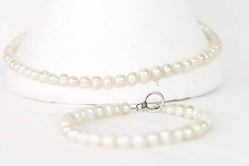 Mothers day Gift. Cultured Freshwater White Pearl Necklace Choker 16inches matching Bracelet 8 inches with elegant clasp By. Be Humble Be Happy