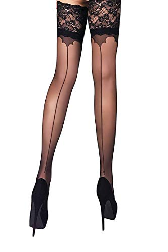 (THIGH HIGH Sheer Lace Top Silicone Stockings Nylon Hosiery 20 Den Size S M L (M, Black 01))