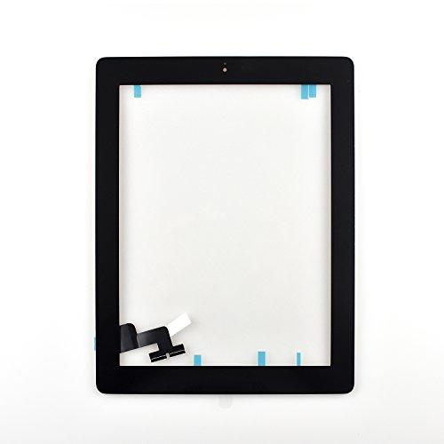 Touch Screen Digitizer Assembled with Home Button Strong Adhesive for iPad 2 2nd Generation A1395 A1396 A1397 (black) by geekit