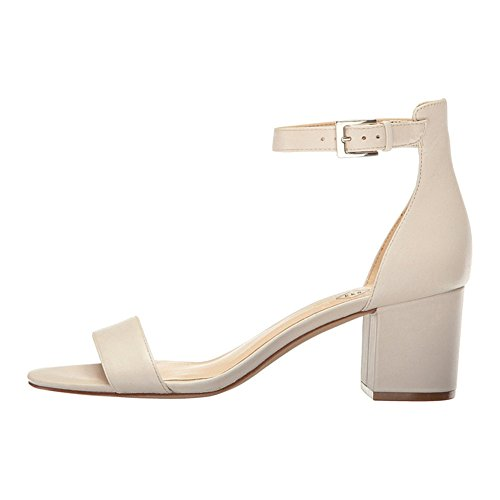 EKS Women's Open Toe Chunky Heels Ankle Strap Buckle Dress Party Sandal Shoes Beige Matte M9hgEQ
