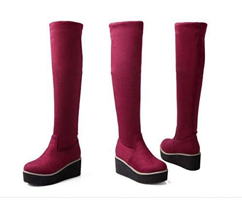 Rojo 34 Botas La zapatos Algodón Avanzado Sobre Cuero elástico 43 Rodilla Invierno Cálido Xdx De Mate Mujer gHBBna6