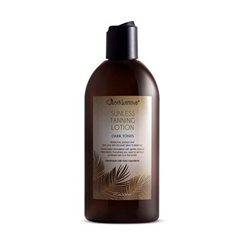 Sunless Tanning Lotion - Dark Tones - Best Self Tanner for Darker Bronze Skin with Natural & Organic Ingredients - 8.0 fl.oz Just Nutritive