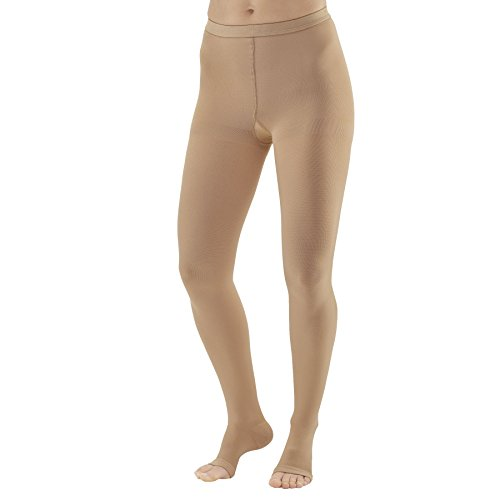 Ames Walker AW Style 293 Medical Support 20 30mmHg Firm Compression Open Toe Pantyhose Beige Small Relieves Pain of Tired Aching Legs Mild Varicosities and Edema Post sclerotherapy Treatment
