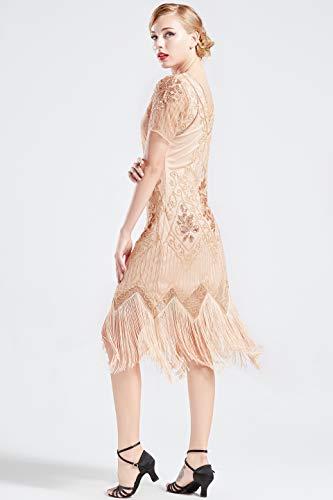 ba3d31c2e7 BABEYOND 1920s Art Deco Fringed Sequin Dress 20s Flapper Gatsby Costume  Dress (Apricot