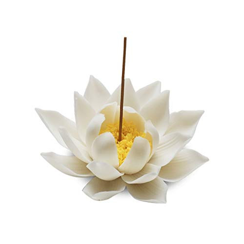 Ceramic Lotus Incense Burner Home Decor Incense Stick Holder Buddhist Aromatherapy Censer for Home Office Living Room Teahouse (Color : A)