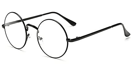 51fc54756b403 Image Unavailable. Image not available for. Colour  BuyWorld Peekaboo Cheap  Small Round Nerd Glasses Clear Lens Unisex Gold Round Metal Frame ...