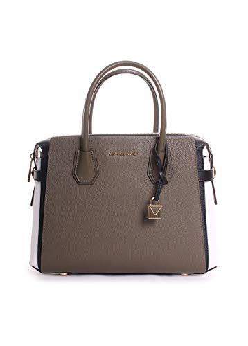 MICHAEL KORS Mercer Medium Leather Belted Satchel (Olive/Black/Optic ()