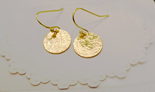 Hand Hammered Gold Disc Dangle Drop - Hammered Earrings Hand