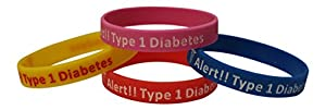 Type 1 Diabetes Bracelets Insulin Dependent Medical Alert(Pack of 4) Blue, Pink, Yellow, Red Plus Bonus Wellness Article Included