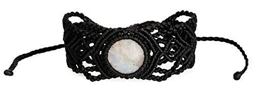 SPUNKYsoul Boho White Crystal Genuine Moonstone with Black Macrame Adjustable Bracelet for Women Collection