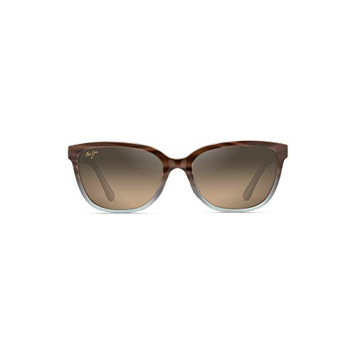 Maui Jim Honi HS758-22B | Polarized Sandstone with Blue cateye Frame Sunglasses, HCL Bronze Lenses, with Patented PolarizedPlus2 Lens Technology ()