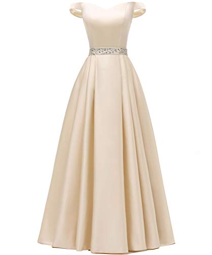 (YORFORMALS Women's Off The Shoulder Floor Length Formal Evening Gown Beaded Prom Dress with Pockets Size 14 Champagne)
