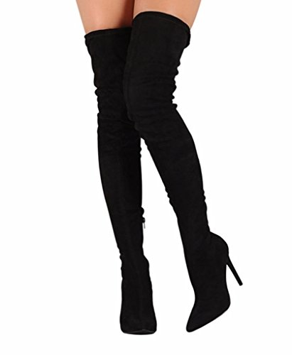 CAMSSOO Women's Pointy Toe Side Zipper Thigh High Stiletto Heel Boots Black Velveteen Size 9 EU41 (Stiletto Heel Thigh Boot)