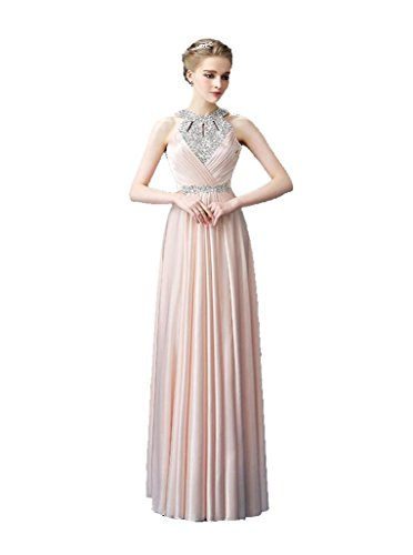 Kleid lange Strass Abend Emily Plissee Maxi Halter Pink Ohne Band Beauty Arm qCOT4wx7t