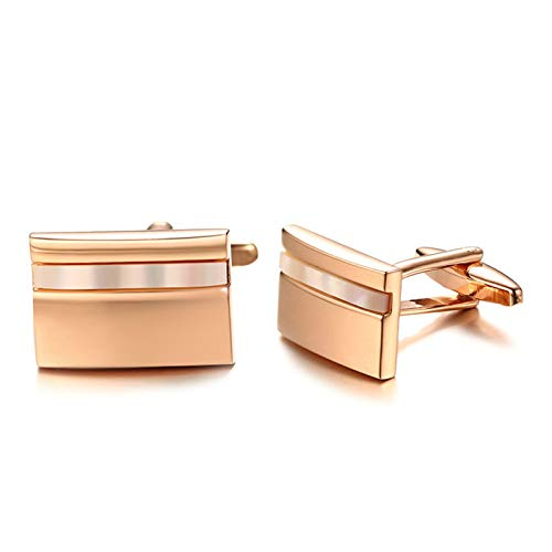 Gnzoe Jewelry-Hypoallergenic 316L Stainless Steel Shell Inlaid Rectangle Cufflink for Men Rose Gold